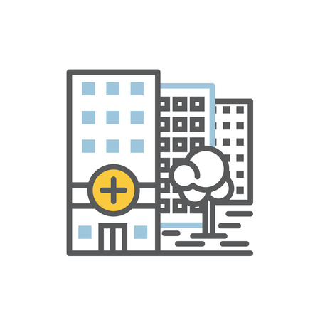 Hospital building icon flat and line vector