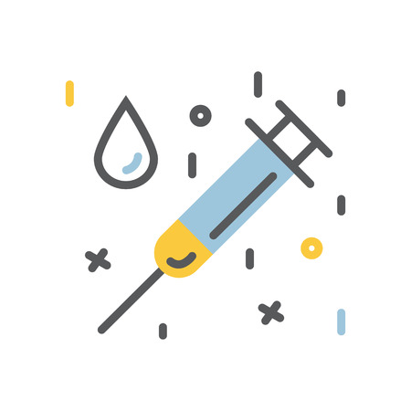 Medical syringe and a drop icon flat