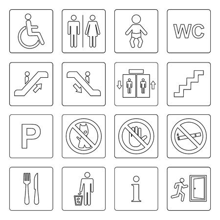 Public icon basic set vector outline