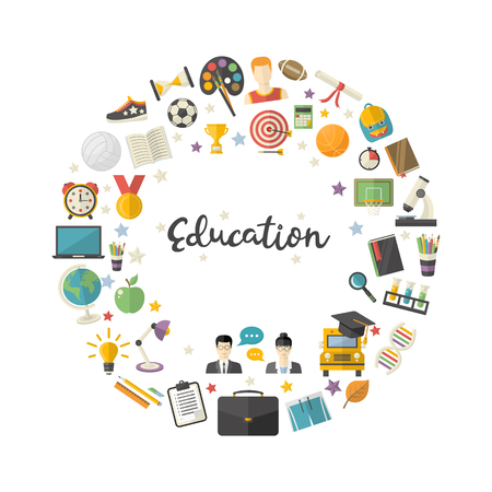 Education icon set in circle in flat style vector Illustration