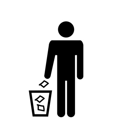 Garbage icon element illustration silhouette of a man