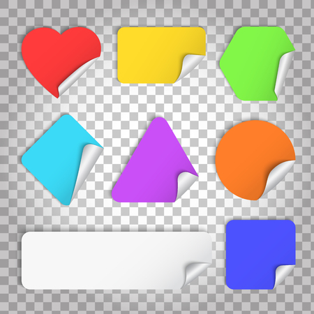 Color paper sticker with curl and shadow in different shape Illustration
