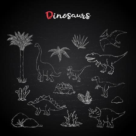 Dinosaurus set collection with plant on chalk blackboard.