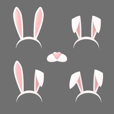 Bunny ears mask set cartoon vector illustration isolated on a gray background . Ostern rabbit rabbit ears and muzzle with a nose spring hat collection Çizim