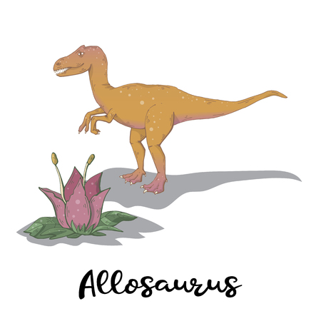 Allosaurus vector with plant isolated on a white background.Wild creature predator.Dinosaur period.Reptile animal