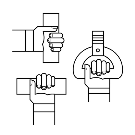 Proper hand position in public transport line sign isolated.Safe.instructions on how to properly and securely hold the handrails and handles in public transport, bus, trolleybus, injury,electric train Stockfoto - 127163721