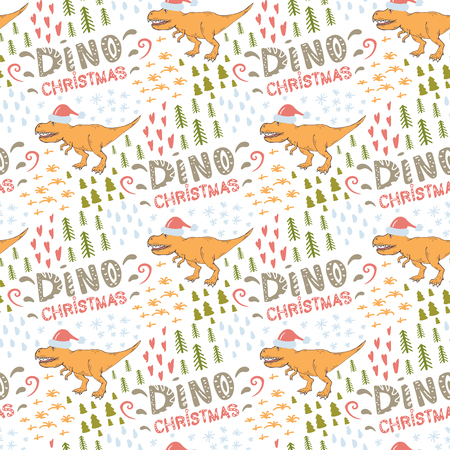 Dino pattern.Vector seamless pattern with Tyrannosaurus in Santa red hat on a white background.Wild creature predator.Dinosaur period.Dino Christmas.Reptile animal.Merry Christmas and Happy New Year