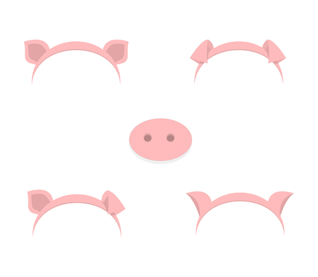Pig ears mask set cartoon vector illustration isolated on a white background .Piggy ears and snout muzzle spring hat collection
