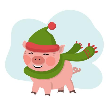Vector cute pig smile in green hat