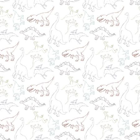 Vector seamless pattern with dinosaur outline silhouette on a white background.Wild creature predator.Dinosaur period.Reptile animal