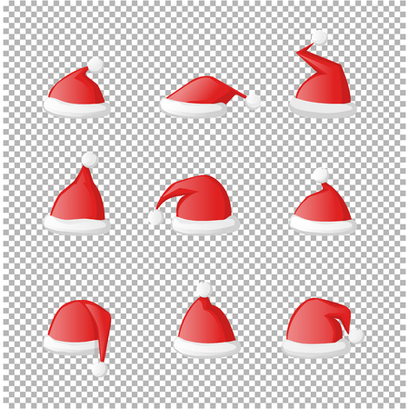 Vector Santa Claus red hat set icon isolated on a transparent background.Holiday part costume santa collection.Head accessory