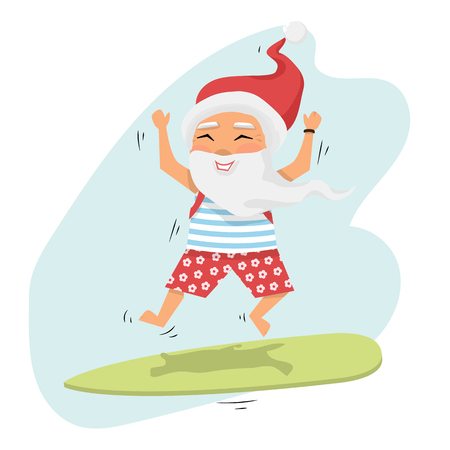Santa Claus jumping on surfboard with gifts in backpack isolated isolated over white cartoon character Santa Claus emotion.Merry Christmas and Happy New Year background
