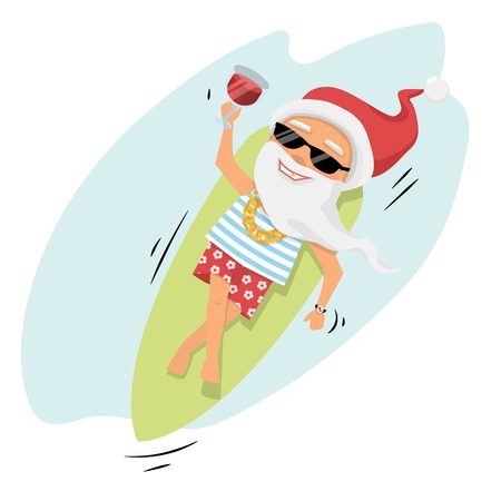 Santa Claus rest on surfboard on the sea with cocktail and sunglasses over white cartoon character top view.Santa Claus.Merry Christmas and Happy New Year background Illustration