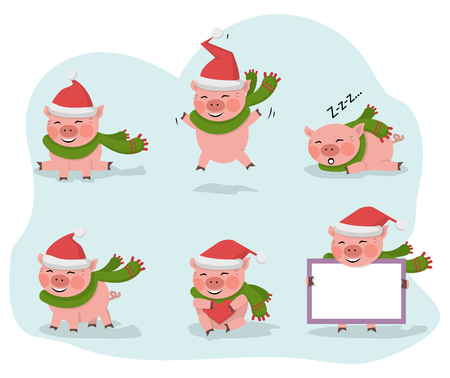 Vector pig set isolated on a white background with red hat Santa Claus.New year symbol cartoon illustration.Farm animal pork jumps, smiles, sits, lies, holds a board with copy space,hola a heart Çizim