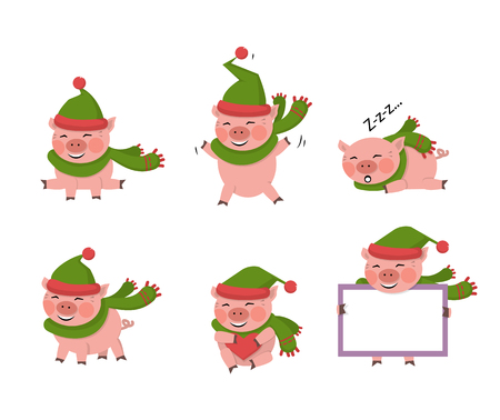Vector pig set isolated on a white background with green hat.New year symbol cartoon illustration.Farm animal pork jumps, smiles, sits, lies, holds a board with copy space,hola a heart