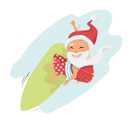 Santa on surfboard with gifts in backpack isolated over white cartoon character Santa Claus.Merry Christmas and Happy New Year background Illustration