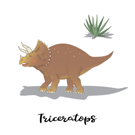 Triceratops with green plants isolated over white vector Иллюстрация