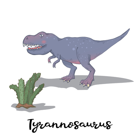Tyrannosaurus with cactus plant isolated on a white background.Wild creature predator.Dinosaur period.Reptile animal Çizim