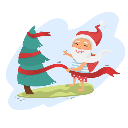 Santa Claus on surfboard holding Christmas tree from ribbon with gifts in backpack isolated over white cartoon character Santa Claus.Merry Christmas and Happy New Year background.