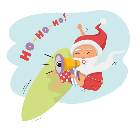 Santa on surfboard with megaphone and gifts in backpack isolated over white cartoon character Santa Claus.Merry Christmas and Happy New Year background.Promotion concept Çizim