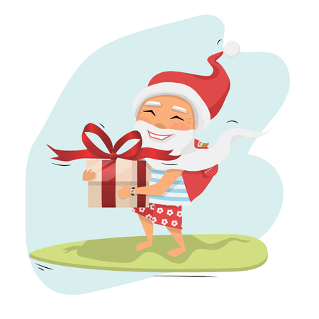 Santa Claus with big gift box in hand riding a surfboard