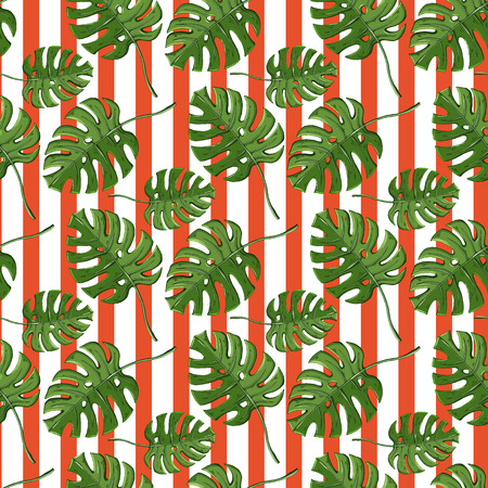 Vector monstera plant seamless pattern on a striped orange background.Endless texture.Tropic,exotic design.Nature object.