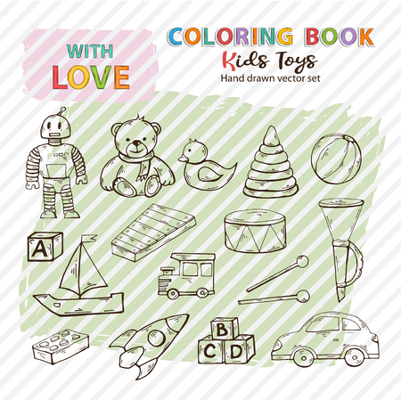 Coloring book kids toys set hand drawn in doodle style,Child toys silhouette,symbol clip art collection