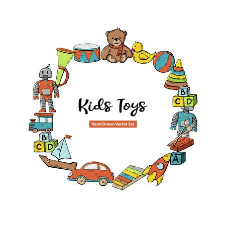 Vector greeting card with kids toy set in circle with text isolated on a white background.Children toys collection.Funny kids game.Play set. Illusztráció
