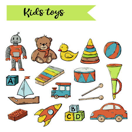 Kids toys set isolated on a white background.Child toys cartoon clip art collection over white.Teddy bear,robot,duck,pyramid,drum,musical instrument,pipe,machine,train,rocket,cubes,xylophone.Children