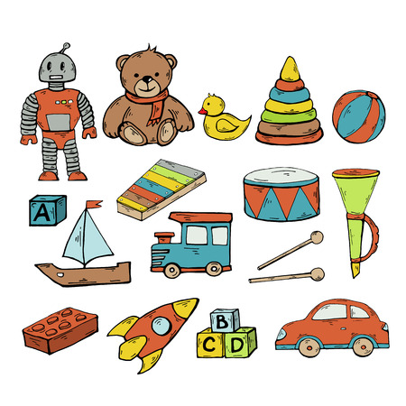 Toys set.Vector children toys collection with robot, duck, pyramid, drum, musical instrument, pipe, machine, train, rocket, cubes isolated on a white background.Funny kids game.Play set.