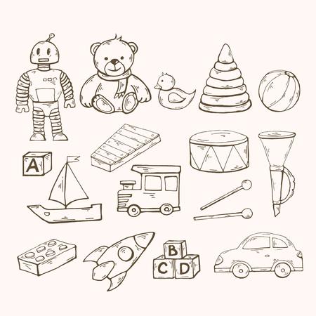 Vector toys set.Children toys collection with robot, duck Illusztráció