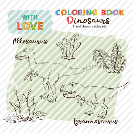 Coloring book Allosaurus and Tyrannosaurs with plant and stone Vector Jurassic Wildlife.Wild animals dinosaurs.Ancient animal character.Wild creatures of the Jurassic period page antistress.