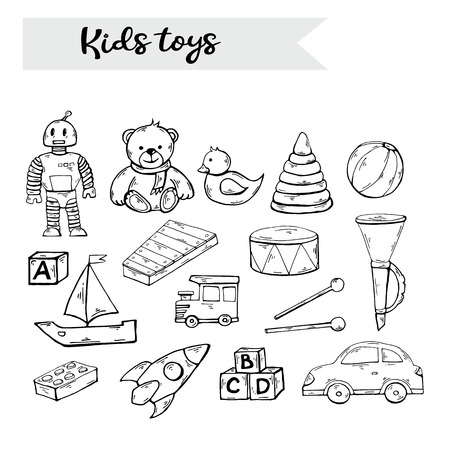 Vector hand draw kids toys set in doodle style,isolated on a white background.Child toys black silhouette clip art collection over white.Teddy bear,robot,duck,pyramid,drum,xylophone,pipe,train, rocket