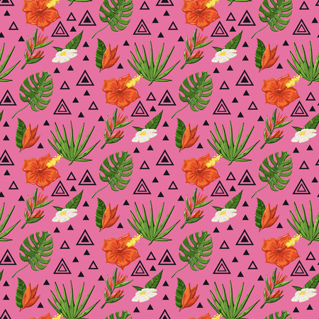 Vector tropical pattern with monstera and flowers