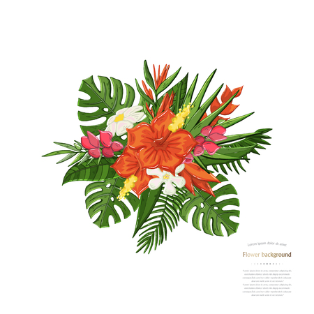 Vector tropical bouquet Monstera leaf, hibiscus flowers isolated ona white background