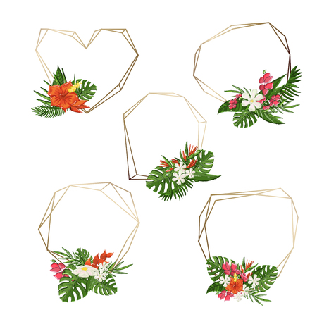 Vector gold poligonal trandy geometric frames set,collection of different sizes with tropical flowers,bouquet on a white background. Monstera leaf, hibiscus flowers