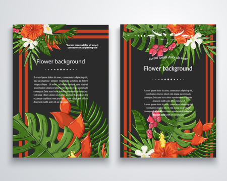 Vector exotic flower background on a darck.Jungle leaves.Hawaii texture.Monstera leave and hibiscus flowers Illustration