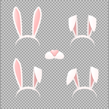 Bunny ears mask set cartoon vector illustration isolated on a transparent background . Ostern rabbit rabbit ears and muzzle with a nose spring hat collection