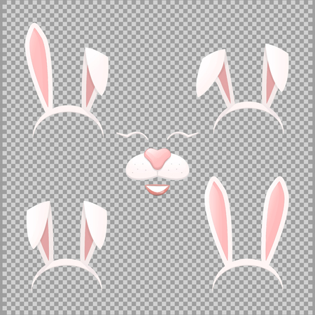 Vector Bunny ears mask set cartoon illustration isolated on a transparent background . Ostern rabbit rabbit ears and muzzle with a nose spring hat collection Illustration