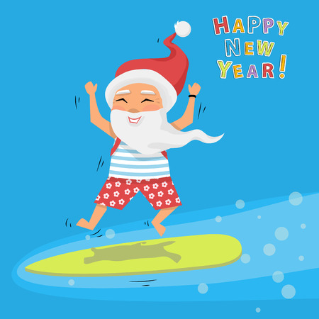 Santa Claus jumping on surfboard with gifts in backpack cartoon character Santa Claus emotion.Merry Christmas and Happy New Year background