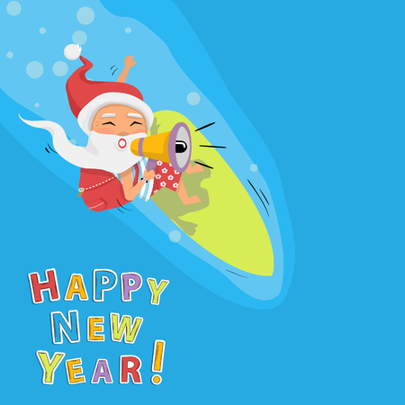 Santa on surfboard with megaphone and gifts in backpack cartoon character Santa Claus.Merry Christmas and Happy New Year background.Promotion concept Illustration