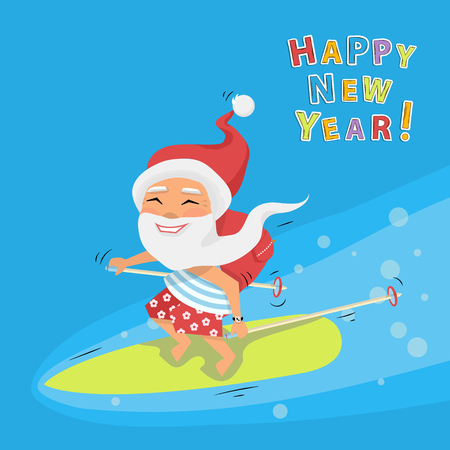 Santa riding a surfboard holding ski sticks and gifts in his backpack ona sea cartoon character Santa Claus.Merry Christmas and Happy New Year background