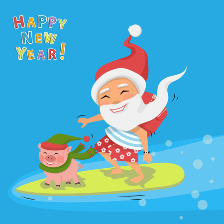 Vector Santa Claus with pig on surfboard with gifts in backpack cartoon character Santa Claus.Merry Christmas and Happy New Year background.Pig farm animal with hat and scarf.Symbol 2019 Illustration