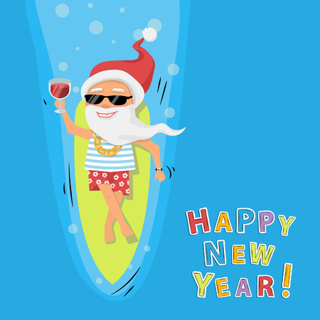 Santa Claus rest on surfboard on the sea with cocktail and sunglasses on a sea blue background cartoon character top view. Happy New Year background Illustration