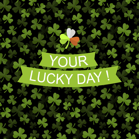 Vector seamless pattern with green clover on a dark background with text your luky day Illustration