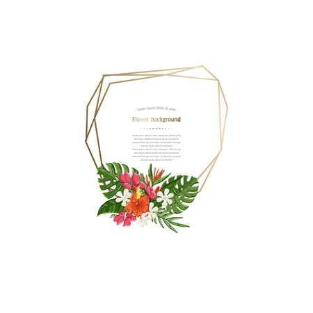 Gold poligonal frame with tropical flowers,leaves isolated on a white background.Frame template