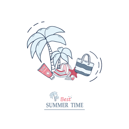 Vector banner with text summer time