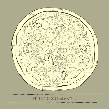 Vintage outline Pizza illustration on a gray background.