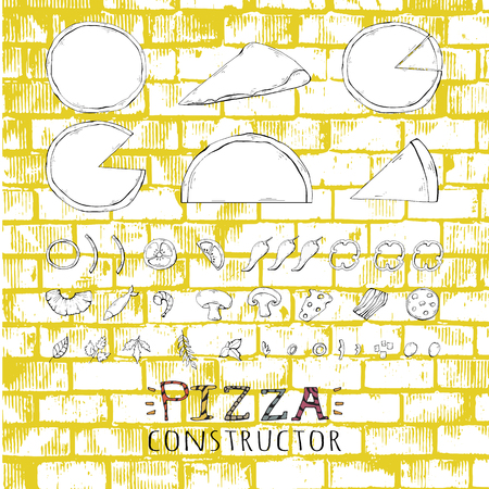 Pizza set,collection on a yellow stone background.