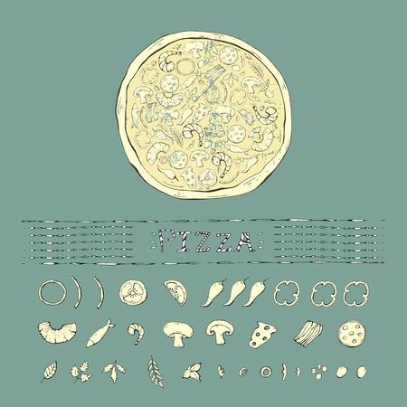 Pizza vintage ,grange set,collection on a blue Иллюстрация
